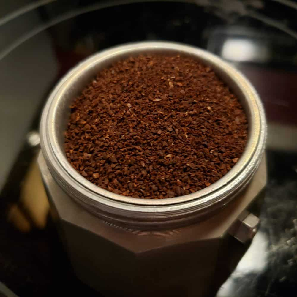 Moka Pot Full Of Coffee Grounds Image